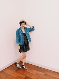 simple fringe with isseymiyake wedges and levi's jacket.
