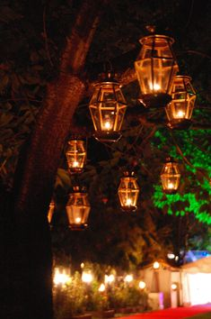 Brass lanterns hung in the trees, ideal for at summer wedding in the courtyard at Chewton Glen by www.stressfreehire.com #venuetransformers #wedding #chewtonglen