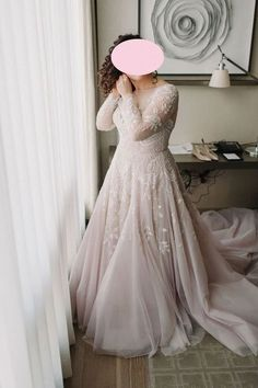 Plus Size Blush Long Sleeve Lace Wedding Dress.The professional tailors custom this long sleeve lace wedding dress with any sizes and many other colors.Contact us to custom fashion wedding dress online. Wedding Dress Empire, V Neck Wedding Dress, Long Sleeve Wedding, Haley Page Wedding Dress, Blush Colored Wedding Dress, Size 18 Wedding Dress, Gown Wedding, Plus Wedding Dresses, Bridal Dresses