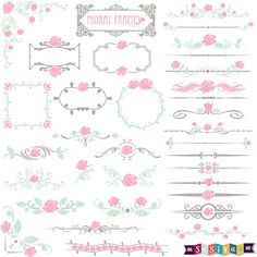 INSTANT DOWNLOAD Ornaments Floral Digital ClipArt Design Elements Decoration Shower Invitation Card Pattern Stationery WS178 Buy 1Get 1 Free