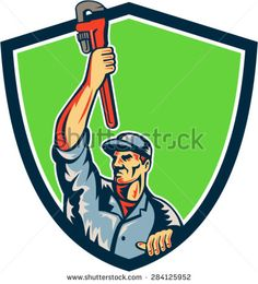 Illustration of a plumber with arm raised up holding monkey wrench looking to the side viewed from front set inside shield crest with sunburst in the background.