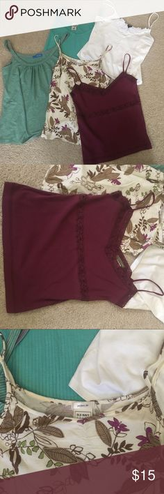 Lot of 5 tank tops layering GAP J. Crew Old Navy Lot of 5 different tank tops, all worn but plenty of life left in them. White cropped tank with lace detail never worn, size Small. J crew maroon strappy tank with pretty detail size Small. Two old navy tanks (solid mint green and floral are size Medium but fit more like small). Delia's green and gray striped tank size medium fits more like small, cute ruching detail at neck. Start off your spring and summer with new clothes! GAP Tops Tank…