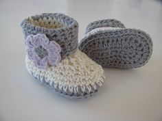 Crochet baby booties with fold down cuff and decorative by Elzies, $14.95
