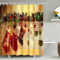 Mouldproof Christmas Hanging Sock Waterproof Shower Curtain - Deep Yellow M Mobile Novelty Shower Curtains, Holiday Shower Curtains, Cheap Shower Curtains, Bathroom Shower Curtains, Christmas Bells, Christmas Home, Christmas Decorations, Holiday Decorating, Christmas Trees