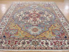 9 x 12  HERIZ SERAPI Hand Knotted Wool BLUE IVORY NEW Tribal Oriental Rug Carpet #Unbranded #PersianHerizSerapiGeometric