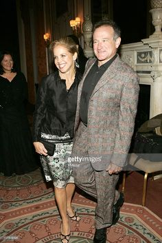 Katie Couric and Robin Williams during 'A Funny Thing Happened on the Way to Cure Parkinson's...' Benefiting the Michael J. Fox Foundation for Parkinson's Research - 2004 - Arrivals at The Waldorf Astoria in New York City, New York, United States.