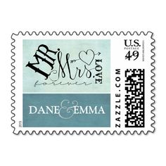 Mr. and Mrs. Love Teal Mint Stamp -Customizable