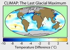 Last Glacial Maximum - A map of sea surface temperature changes and glacial extent during the last glacial maximum according to the CLIMAP project. During the Last Glacial Maximum (LGM), vast ice sheets covered much of North America, northern Europe and Asia. These ice sheets profoundly affected Earth's climate, causing drought, desertification and a dramatic drop in sea levels. It was followed by the Late Glacial Maximum.