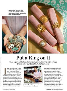 Eddie Ross' vintage jewelry napkin rings for Southern Living