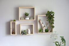 Set of Floating Rectangle Shelves. Hanging Wood Shelves, Solid Wood Shelves, Cube Shelves, Plant Shelves, Wall Shelves, Hanging Rope, Wood Shelf, Hanging Plants, Wood Display