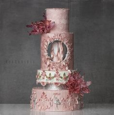 It would be perfect as a wedding cake—remove the silver ballerinas and the ballet slippers (unless the bride happens to be a ballerina 😉) and replace them with something personal to the couple. Unique Cakes, Elegant Cakes, Creative Cakes, Cake Icing, Fondant Cakes, Eat Cake, Gorgeous Cakes, Pretty Cakes, Amazing Cakes