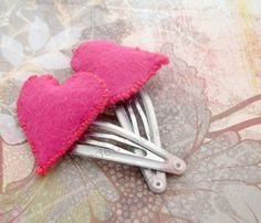 Puffy Pink Felt Hearts on light pink clip barrettes | FadedLeaves - Accessories on ArtFire