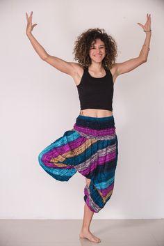 Boho Blue Striped Low-Cut Women's Harem Pants
