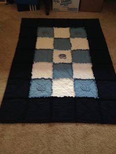 North Carolina Tarheels Rag quilt.  Carolina blue, white, black. Atlantic Coast Conference (ACC)