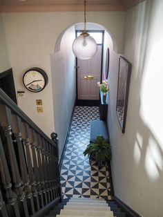 Hallway Makeover Before & After - How We Did It. — Gold is a Neutral Hallway Makeover Before & After - How We Did It. — Gold is a Neutral Neutral Hallway, Hallway Colours, House, Home, Victorian Homes, Hallway Flooring, Hall Tiles, Tiled Hallway, Narrow Hallway Decorating
