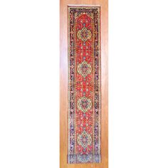 @Overstock.com - Indo Hand-knotted Heriz Red/ Navy Wool Rug (2'6 x 20') - With a distinctive style, a gorgeous area rug from India will add some splendor to any decor. This Heriz area rug is hand-knotted with a geometric pattern in shades of red, navy, ivory, green, gray, salmon, gold and light blue.  http://www.overstock.com/Worldstock-Fair-Trade/Indo-Hand-knotted-Heriz-Red-Navy-Wool-Rug-26-x-20/7720793/product.html?CID=214117 $533.19