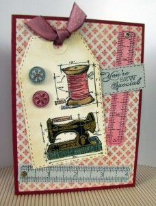Tim Holtz inspired tag using Mini sewing blueprint stamp set