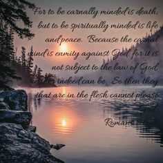 The carnal mind is the enemy of the Spiritual mind. The carnal mind satisfies it's own needs. The spiritual mind thinks of what God wants and needs from us to build His Kingdom!!!  Take heart dear brothers and sisters!!!