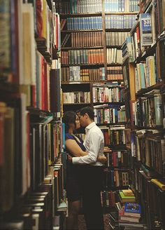 Shelved - Engagement shoot in a cute bookstore