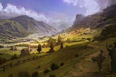 Virtual Plein Air by Eric Elwell Fantasy Art Landscapes, Fantasy Landscape, Beautiful Landscapes, Landscape Paintings, Fantasy City, Fantasy Places, Fantasy World, Environment Painting, Environment Design