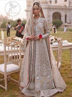 Nafeesa – ELAN This silver cloth and kham for walima Asian Bridal Dresses, Casual Bridesmaid Dresses, Muslim Wedding Dresses, Bridal Outfits, Indian Dresses, Indian Outfits, Indian Attire, Formal Dresses, Bridal Hijab