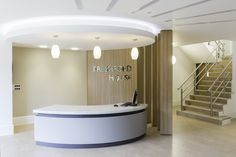 Speculative office refurbishment including reception and bespoke reception desk Reception Desk Design, Custom Desk, Corporate Office Design, Refurbishment, New Carpet, Floor Finishes, Architectural Drawings, Common Area, Commercial Interiors