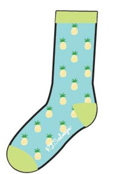 """PJ Salvage Women's Playful Print """"Pineapple"""" Sock in Aqua $10 - SHOP http://www.thepajamacompany.com/store/product.php?productid=18707&cat=0&page=3"""