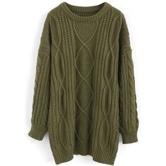 Chicwish Cozy Everyday Cable Knit Longline Sweater in Army Green ($60) ❤ liked on Polyvore featuring tops, sweaters, green, cable-knit sweater, olive sweater, green top, chunky cable knit sweater and olive green sweater