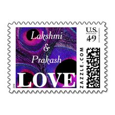 Customized / personalized, #peacock #feather #LOVE #postage #stamps in #purple, #hot #pink, #fuchsia, #gray, #violet, #lavender, #black, and #blue. Spice up your #wedding, shower, engagement party, vow renewal, and anniversary invitations, announcements, save the dates, thank you notes, correspondence, and cards. Available horizontal or vertical, different mailing $ denominations, different colors, and other matching items.