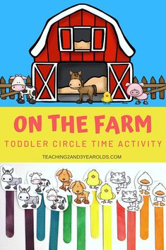 This barn and farm animals printable can be used in a variety of ways during the farm theme. Perfect for toddlers and preschoolers! #barn #farm #music #circletime #preschool #toddlers #teachers #props #2yearolds #3yearolds #teaching2and3yearolds Circle Time Activities, Farm Activities, Animal Activities, Kindergarten Activities, Preschool Activities, Preschool Farm Crafts, Daycare Crafts, Preschool Lessons, Farm Theme Crafts