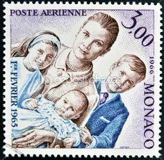 MONACO - CIRCA 1966: a stamp printed in Monaco shows Grace Kelly an her children princess Caroline, prince Albert II and princess Stephanie, circa 1966. — Stock Image #44906881