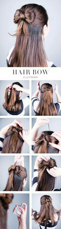 Hairbow half up and half down look