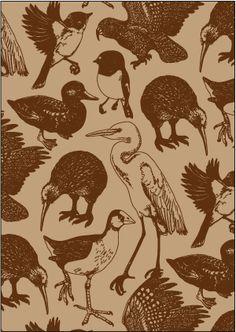 Native NZ bird pattern.
