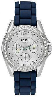 New Fossil Womens Stella Boyfriend Blue Silicone Glitz Chronograph Watch ES2721
