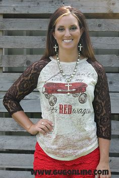 My Little Red Wagon Baseball Burnout Tee with Brown Lace Sleeves www.gugonline.com $28.95