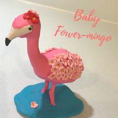 Baby Flower-mingo – polymer clay flamingo Leafy Originals