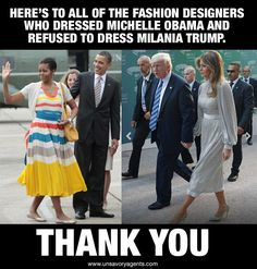 Finally after 8 years we have a First Lady with class. Love Melania Trump's style and class.