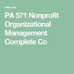 Organizational and Nonprofit Management what subject to study