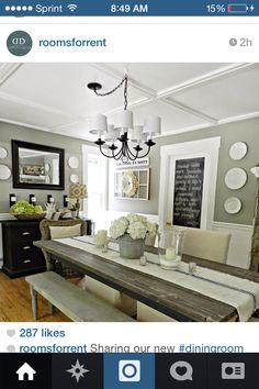 I'd love this light above our table and that chalkboard on the door is a great idea