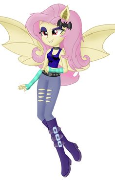 """Flutterbat - Equestria Girls Version The outfit that Flutterbat is wearing is a cannon outfit in the Equestria Girls Franchise. It can be found in """"Equestria Girls: Roller Coaster of Friendship"""" I did. My Little Pony Poster, My Little Pony Comic, My Little Pony Characters, My Little Pony Drawing, My Little Pony Pictures, Fluttershy, Disney Gender Bender, Unicornios Wallpaper, The Forces Of Evil"""