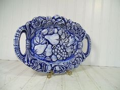 Vintage Blue China Oval Platter with Handles - 1975 Kreider Sisters Pottery Mark Serving Piece TableWare Plate - Fruit & Flowers Carved Tray $32.00 by DivineOrders