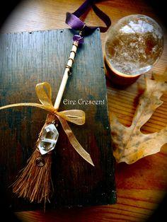 Safe Travel Broom car charm by EireCrescent on Etsy, $9.99, #pagan, #witchcraft, #car charm, #crystals, #quartz