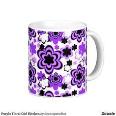 Purple Floral Girl Kitchen Coffee Mug