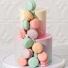 Two tiered macaron cake by Le Dolci 14th Birthday Cakes, Pretty Birthday Cakes, Birthday Cake Girls, Pretty Cakes, Cute Cakes, Teen Cakes, Girl Cakes, Cake Cookies, Cupcake Cakes