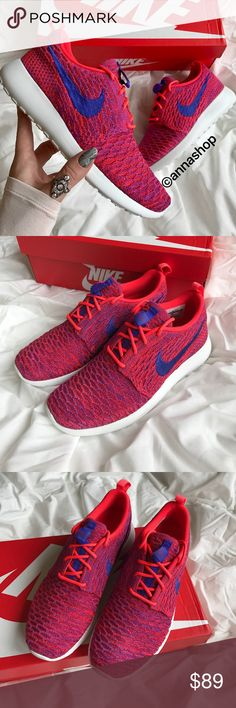 NWT Nike Roshe one Flyknit Brand new with box!price is firm,no trades!It doesn't get much better than the clean, classic aesthetic of the Roshe Run - or does it? Nike's taking the much-loved Roshe to the next level with their latest model, the Women's Nike Roshe Flyknit Casual Shoes. Gone is the traditional mesh and textile upper and in its place is breathable, lightweight Flyknit. Who would have thought that the best could get even better? • Flyknit upper • Lace-up closure • Pull tab at…