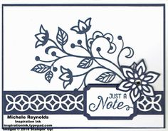 Flourishing Phrases Navy Note by Michelerey - Cards and Paper Crafts at Splitcoaststampers