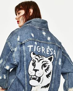 OVERSIZED DENIM JACKET WITH TIGER PRINT-OIL ON DENIM-TRF | ZARA United States
