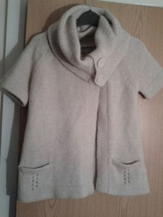 Topshop Tall Oatmeal Alpaca mix S/Sleeve Cardigan/Jacket size 8