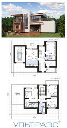 Ультра Эс. Проект дома S21 Двухэтажный дом в стиле конструктивизм с большой террасой над гаражом. Общая площадь: 151.7 м2 Такой дом хорошо впишется и в застроенную градостроительную среду, и в естественный ландшафт. #ультраэс #проектдома #строительство