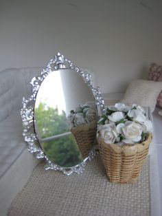 Modern Baroque Mirror - Dollhouse Size. $15.00, via Etsy.